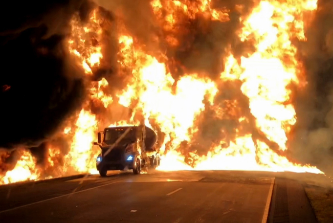 Grissom FD extinguishes tanker fire